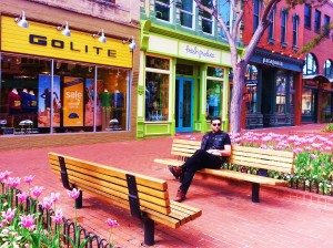 Paul wearing his GoLite vest in front of the GoLite store in Boulder, CO