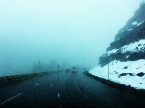 An impromptu blizzard in the Rocky Mountains on I-70
